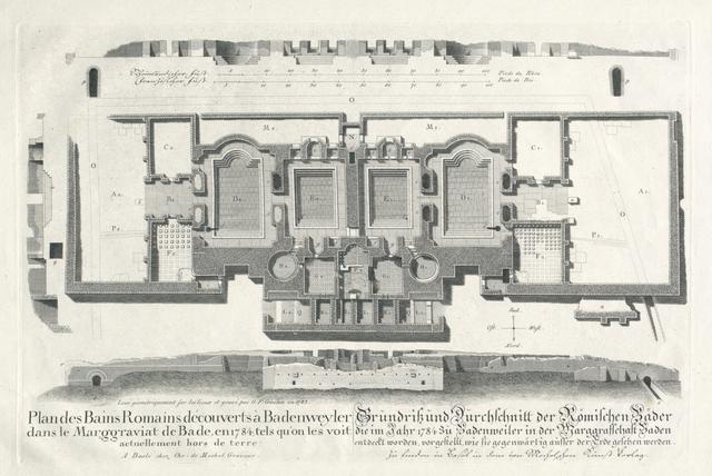Plan des Bains Romains découvert à Badenweyler dans le Marggraviat de Bade, en 1784, tels qu'on les voit actuellement hors de terre. Grundriss und durchschnitt der Römischen Bäder die im Jahr 1784 zu Badenweiler in der Marggrafschaft Baden entdeckt worden, vorgestellt, wie sie gegenwärtig ausser der Erde gesehen werden