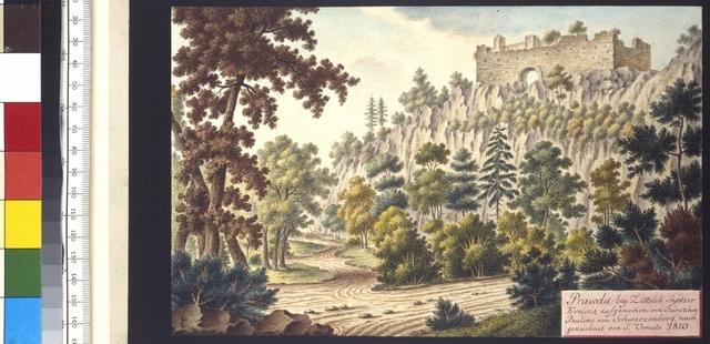 Prawda bey Zittolib, Saatzer Kreises, aufgenommen von Fürstinn Pauline von Schwarzenberg, nachgezeichnet von J. Venuto 1810
