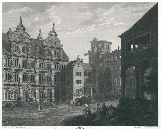 Premiere Vue du Chateau de Heidelberg dans l'Intèrieur de la Cour. Erste Ansicht des Heidelberger Schlosses vom Innern des Hofes aus