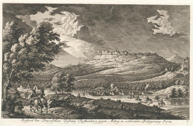 Prospect der Bayrischen Vestung Rothenberg gegen Mittag in währender Belägerung A° 1703