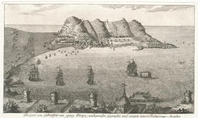 Prospect von Gibraltar mit seinen Werken, umliegenden Gegenden und iezigen neuern Belagerungs-Anstalten gezeichnet vor gibraltar im Jahr 1782. - nebst einer hierzu gehörgien Beschreibung