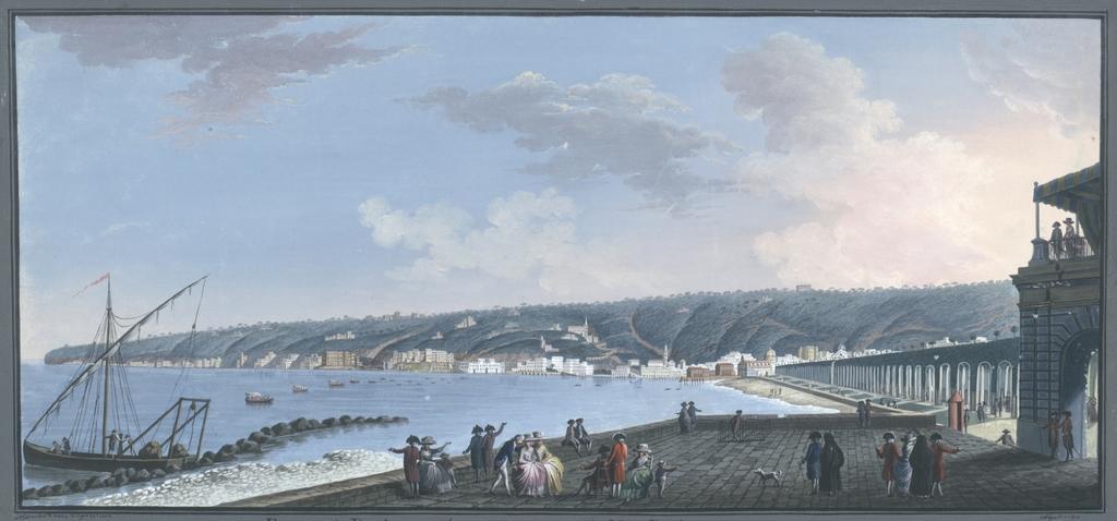 Riviera di Posilipo veduta dall'interno della Villa Reale a Chiaja