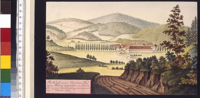 Rothhof naechst Krumau Budweiser Kreises, aufgenommen von Fürstin Pauline von Schwarzenberg, nachgemahlt von J. Venuto 1811