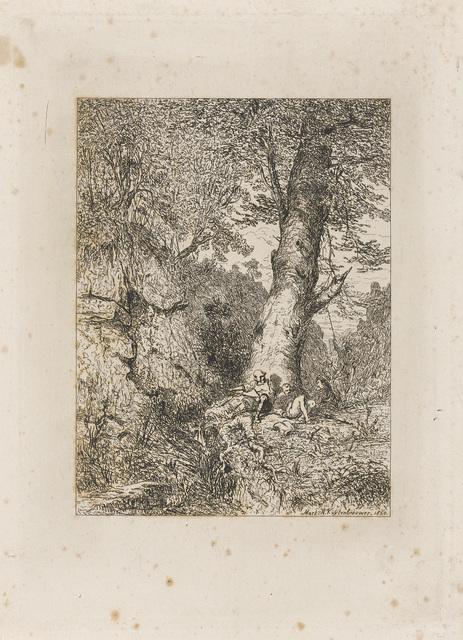 Rustende krijgsmannen onder een boom