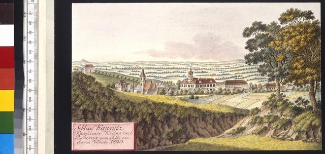Schloss Kaunitz Kauřzimer Kreises, nach Pucherna gemahlt von Joann Venuto 1820