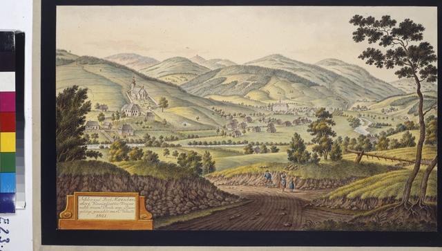 Schloss und Dorf Marschendorf, Königgraetzer Kreises nebst einem Theile vom Riesengebirge, gemahlt von J. Venuto 1821