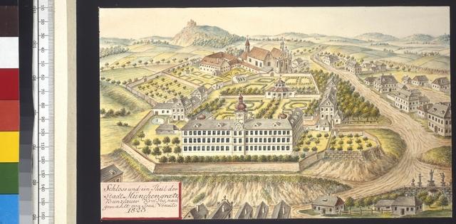 Schloss und ein Theil der Stadt Münchengraetz, Bunzlauer Kreises, nachgemahlt von Joan. Venuto 1823