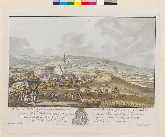 St. Veit ohnweit Wien samt den umliegenden Gegenden. Vue de St. Veit avec ses environs près de Wienne