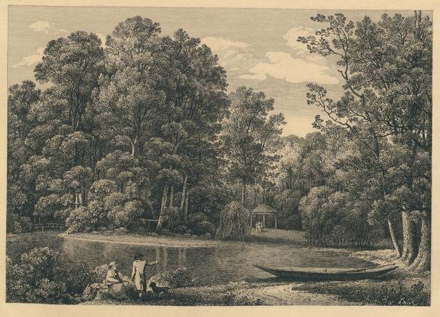 [ Teich, am Rande ein Paar mit Hund, im Hintergrund kleiner Gartenpavillon mit 3 Figurinen, rechts am Ufer ein Kahn ] Fingierter Titel
