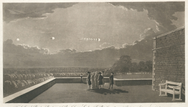 The Meteor of Aug. 18, 1783, as ist appeared from the NE Corner of the Terrace, at Windsor Castle, 18 Min after 9 in the Evening ...