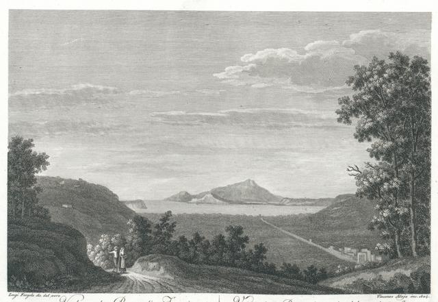Veduta de' Bagnoli, e Fuorigrotta preso da sopra Posillipo. Vue des Bagnoli, et du dehois de la Grotte prise sur Posilippe