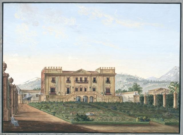 Veduta del Casino del duca di Camastra sulla strada di Morreale abitato da S. M. la Regina