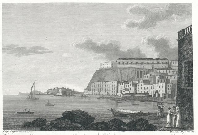 Veduta del Castello dell'Ovo, e Pizzofalcone dalla parte di St. Lucia a Napoli. Vue du Chateuu (!)  de l'Ove, e de Pizzofalcone du côte de Sainte Lucie à Naples