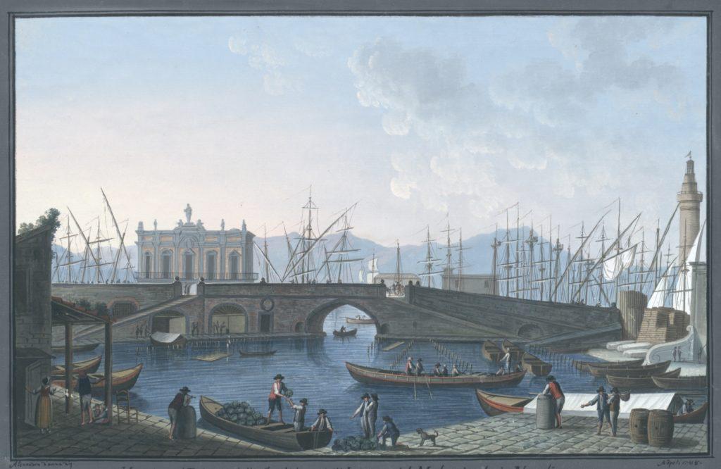 Veduta del Palazzo della Sanità, e dell'Interno del Molo piccolo in Napoli
