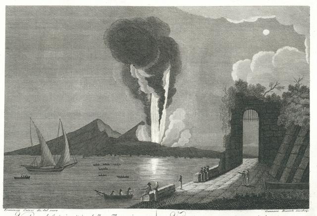 Veduta del principio della 32.ma eruzione de 15. Giugnio dell'anno 1794. Vue du commencement de la 32.a eruption arrivée le 15. guin 1794.