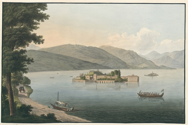 Veduta della incomparabile e deliziosa Isola Borromea nominata l'Isola Bella sul Lago Maggiore. Isola bella die unvergleichlichschöne und reizendste der Borromeischen Inseln im Lago Maggiore.