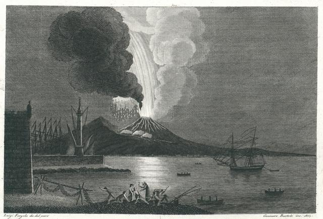 Veduta della trigesima Eruzione di Fuoco fatta dal Vesuvio di 8. Agosto 1779. Vue de la trentieme Eruption de Feu du Mont Vesuve arrivée à 8. Aout 1779
