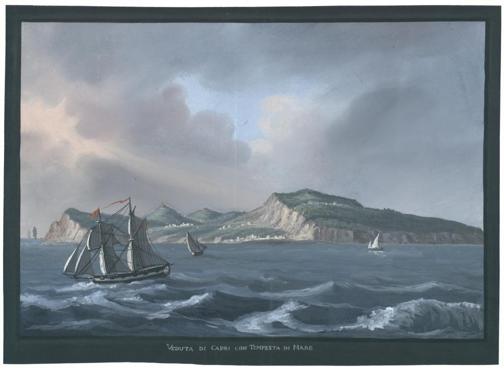 Veduta di Capri con tempesta di mare