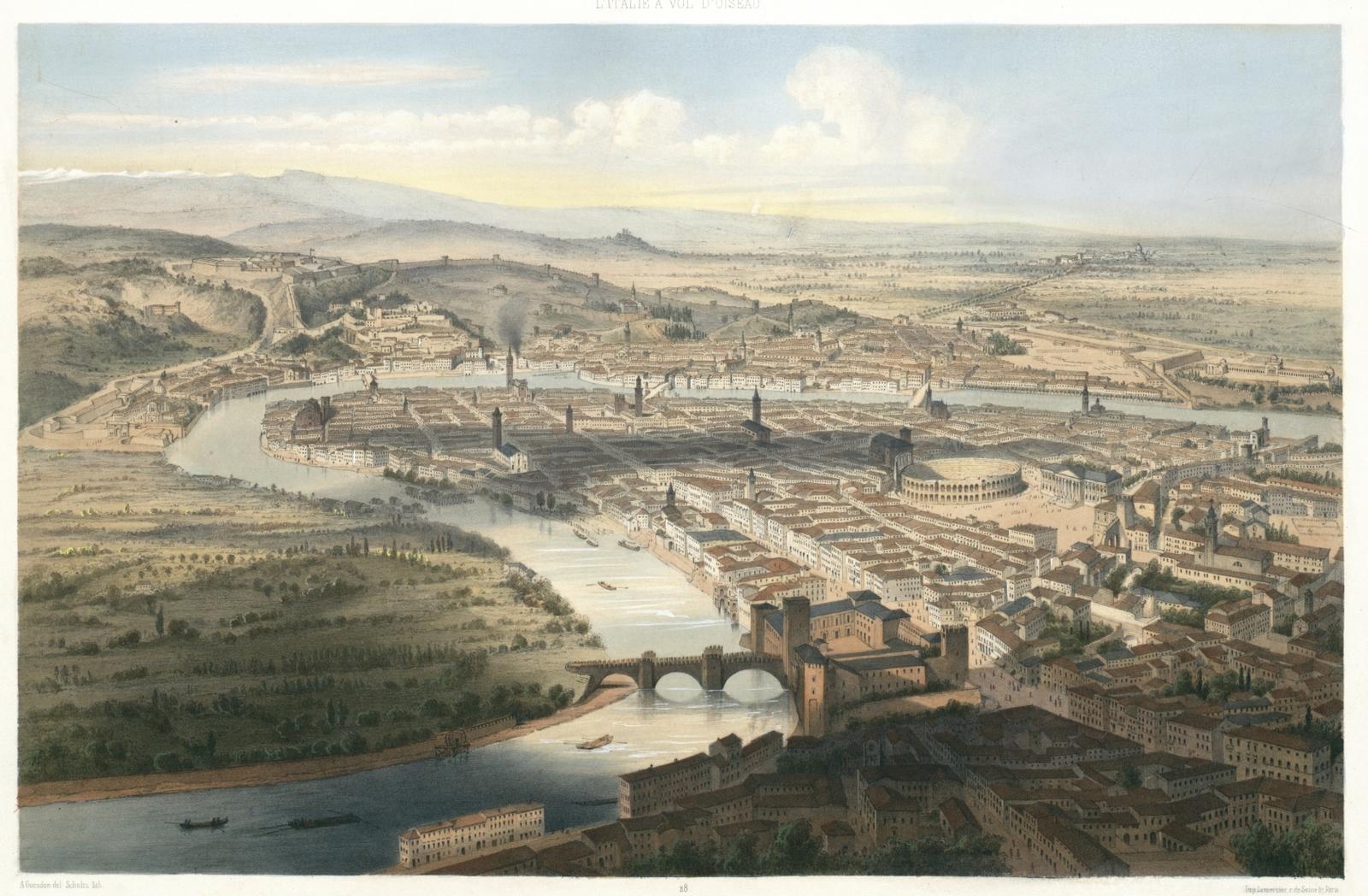Vérone. Vue prise au dessus du Castel Vecchio