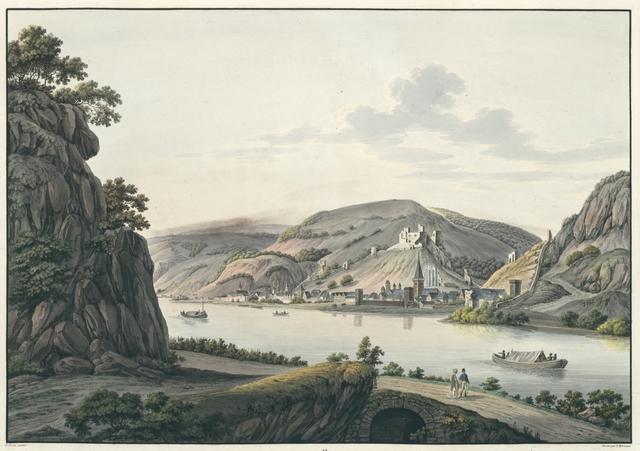Vue de Bacharach et des Ruines Fürstenberg et Stahleck au Rhin