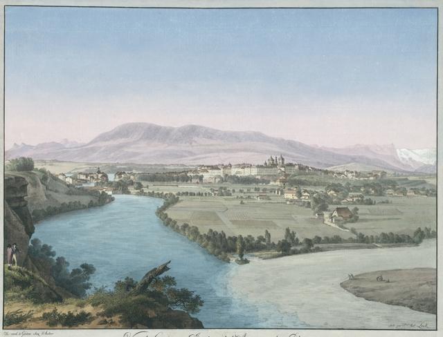 Vue de Genève & Jonction de l'Arve avec le Rhône