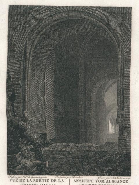 Vue de la Sortie de la Grande Halle en descendant du Chateau de Heidelberg. Ansicht vom Ausgange aus der Vorhalle beym herabsteigen vom Heidelberger Schlosse