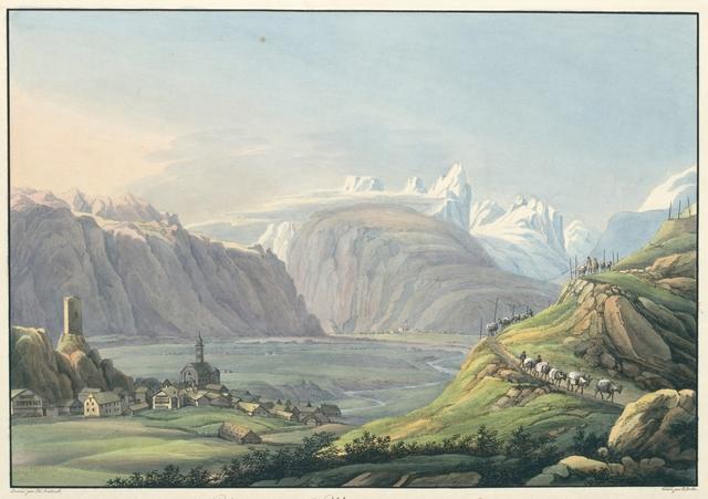 Vue de la Vallée d'Ursern du coté de la Grande route du St. Gotthardt