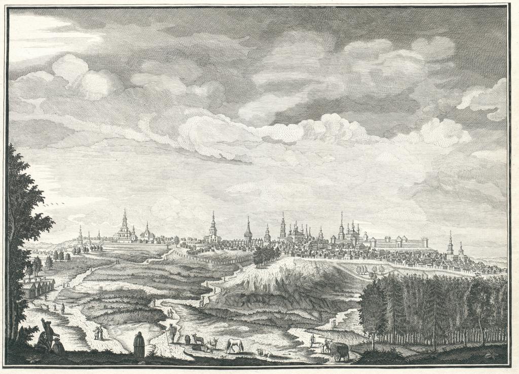Vue de la ville de Sinbirsk au Nord-ouest en entrant