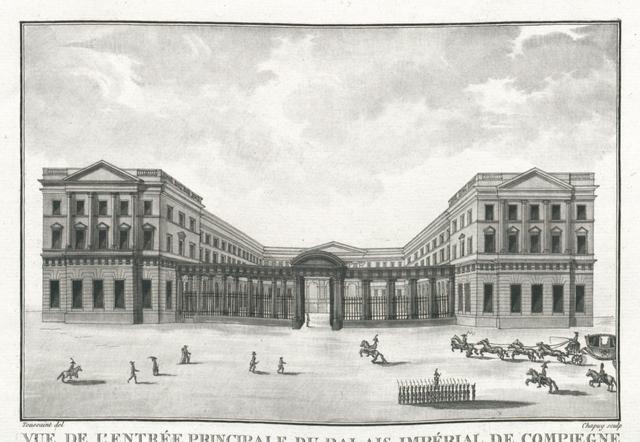 Vue de l'Entrée principale du Palais Impèrial de Compiegne prise de l'avenue de Paris
