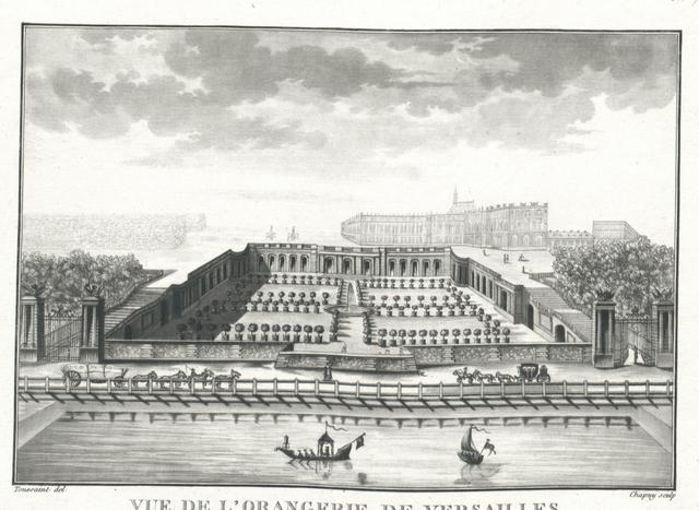 Vue de l'Orangerie de Versailles et d'une Partie du Canal dit la Piece des Suisses dans le lointain on apperçoit le Palais côté des Jardins