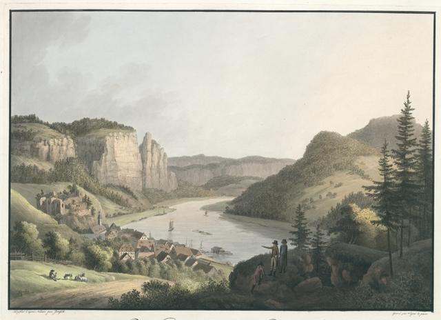 Vue de Wehlen sur l'Elbe près de Königstein en Saxe