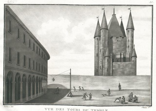 Vue des tours du Temple, prise de la Rotonde que l'on voit sur la gauche
