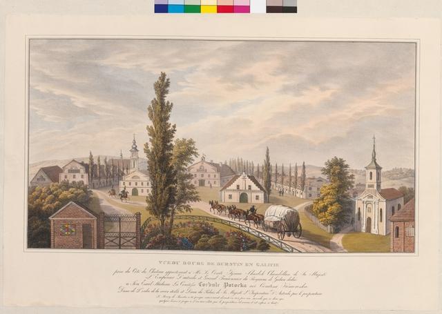 Vue du Bourg de Burstin en Galicie prise du Côté du Chateau appartenant à Mr. Le Comte Ignace Skarbek Chambellan de Sa Majesté l'Emperueur d'Austriche et Grand Fauconnier du Royaume de Galicie .... Le Bourg de Bustin a èté presque entierément devasté en 1817 par une incendie qui ne du´ra que quelques heures et jusqu à l'an 1825 rébâtie par le proprietaire tel comme il expose ci haut