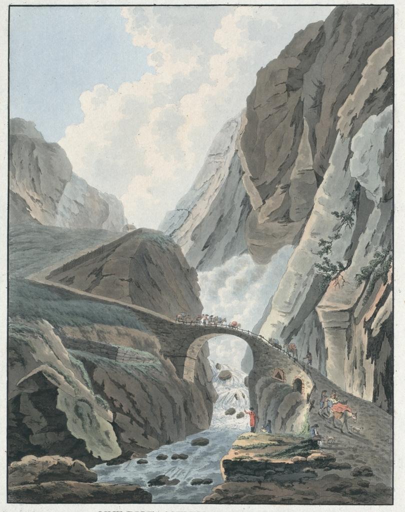 Vue du fameux Pont du Diable sur la Reuss, au Mont St. Gothard, Canton d'Uri, grand passage pour aller de Suisse en Italie