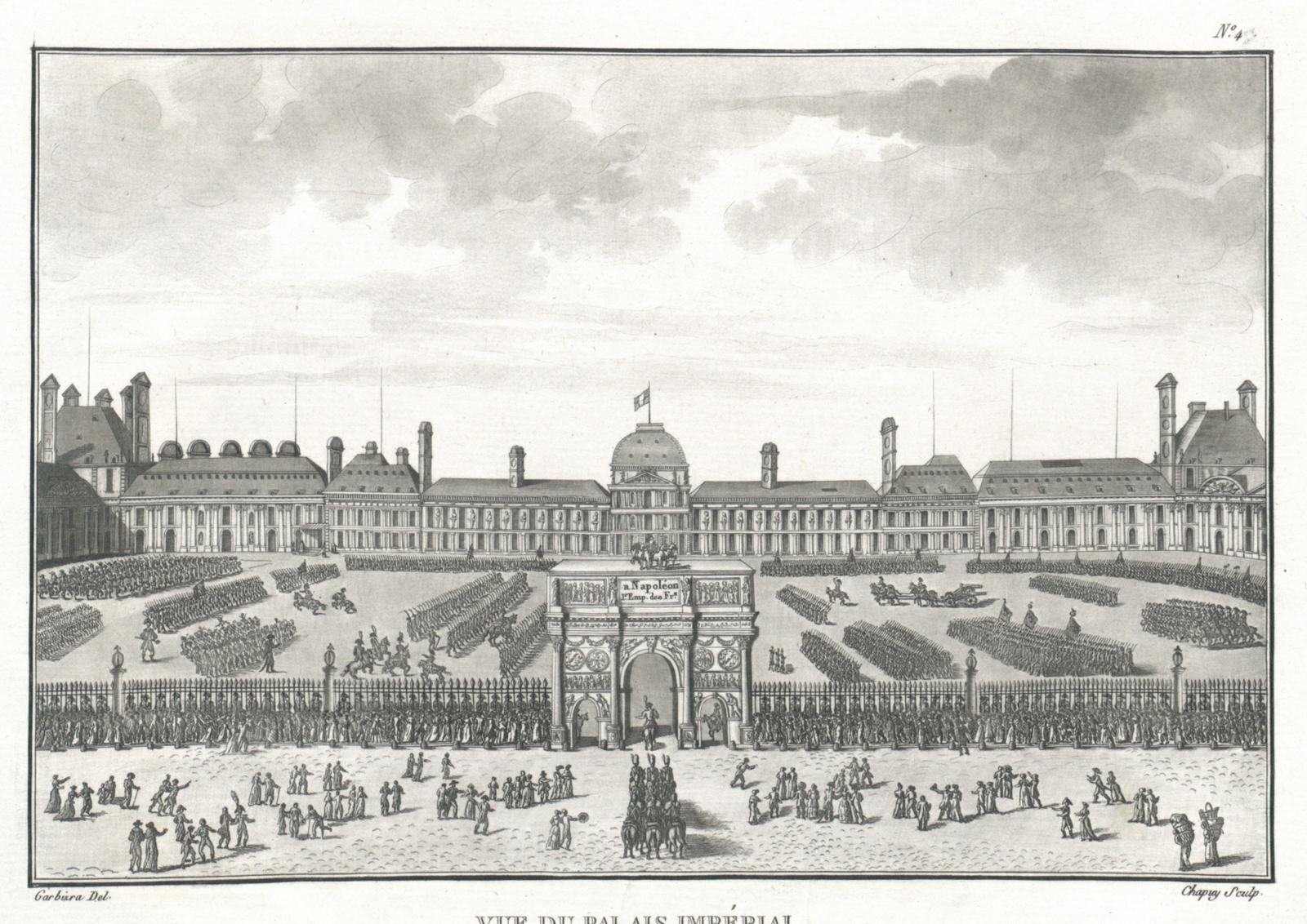 Vue du Palais Impérial, prise du Carrouzel avec l'Arc de Triomphe. (au moment de la Parade )