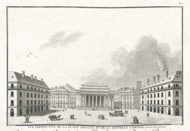 Vue perspective de la Place Gralin et de la Nouvelle Comédie, faite sur les dessins du Sr. Crucy
