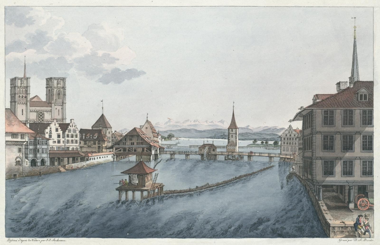 Vue perspective de la Ville, du Lac, et environs de Zuric prise à l'Auberge de l'Epée, du Coté de l'Orient