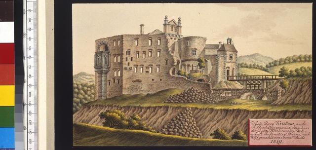 Wüste Burg Krakow, auch Rothschloss genannt Stammhaus der Grafen Krakowsky-Kolowrat, Rakonitzer Kreises, nach Wolf gemahlt von Joann Venuto