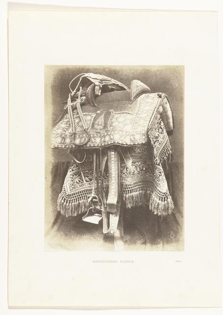 Geborduurd zadel uit India, tentoongesteld op de Great Exhibition, Londen 1851
