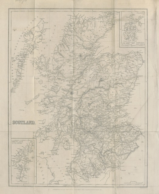 """map from """"Directory to noblemen and gentlemen's seats, villages, etc., in Scotland ... To which are added tables, shewing the despatch and arrival of the mails ... throughout Scotland and transmission of letters. [Compiled by A. G. Findlay; corrected and edited by G. Thomson.]"""""""