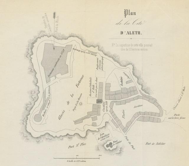 """map from """"Histoire de la cite d'Aleth, pour servir d'introduction à l'histoire de Saint-Malo"""""""