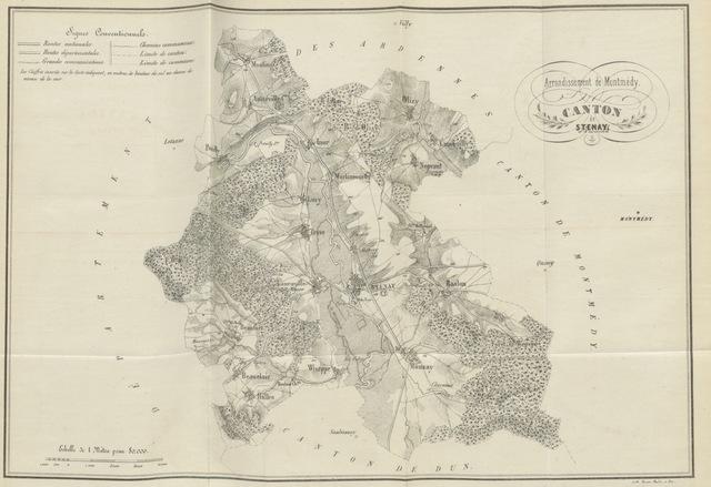 """map from """"Les chroniques de l'Ardenne et des Woëpvres, ou revue et examen des traditions locales antérieures au onzième siècle pour servir à l'histoire de l'ancien comté de Chiny"""""""