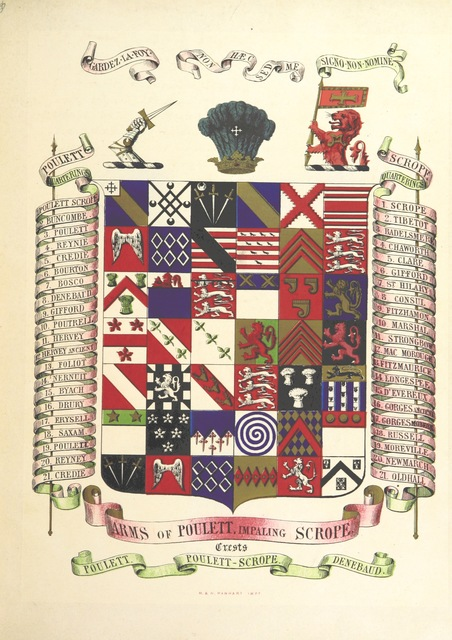"coat of arms from ""History of the Manor and ancient Barony of Castle Combe, in the County of Wilts; chiefly compiled from original MSS. and Chartularies at Castle Combe. With memoirs of the families of Dunstanville, Badlesmere, Tiptoft, Scrope, Fastolf, etc"""