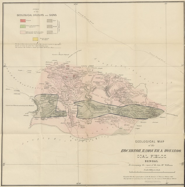 """map from """"A Geological Report on the Kymore Mountains, the Ramghur Coal Fields and on the Manufacture of Iron, etc. [Edited by T. Oldham. With a map.]"""""""
