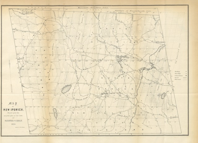 "map from ""The History of New Ipswich from its first grant in 1736 to the present time; with genealogical notices of the principal Families, etc"""