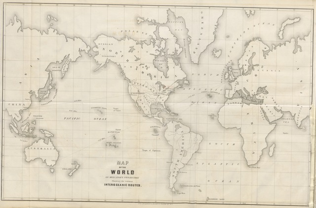 """world from """"The isthmus of Tehuatepec: being the results of a survey for a railroad to connect the Atlantic and Pacific Oceans, made by the Scientific Commission under the direction of Major J. G. Barnard, with a résumé of the geology, climate, local geography, productive industry, fauna and Flora of that region. Illustrated with numerous maps and engravings, etc"""""""