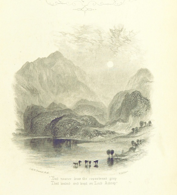 """lake from """"The Lady of the Lake, by Sir Walter Scott; with all his introductions, various readings, and the editor's notes. Illustrated by numerous engravings on wood from drawings by Birket Foster and John Gilbert"""""""