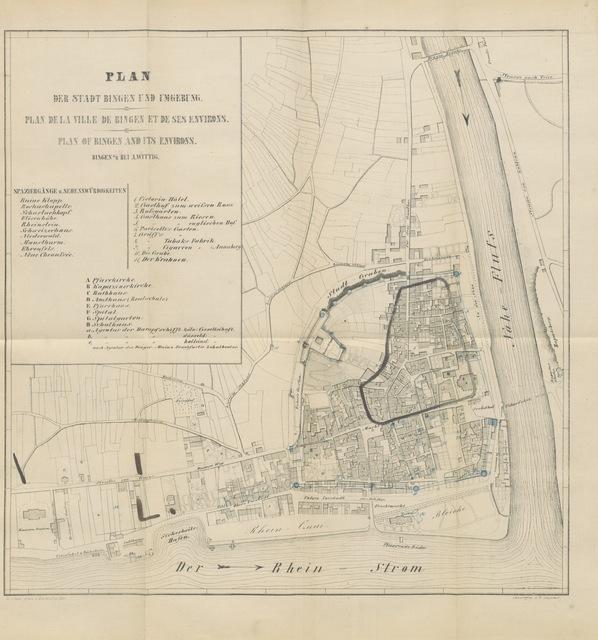 """map from """"Annales Bingenses, das ist, Chronick oder zeitregister der uhralten statt Bingen am Rhein, von ihrem herkommen, auch wass sich in, und bey auff etliche meil umb dieselbe gegend denckwürdig zugetragen, auss alten und neüwen scribenten und Historicis zusammengetragen, und in diesse ordnung bracht durch J. Schollium ... Anno Domini MDCXIII. Zum erstenmal nach Handschriften herausgegeben von E. Sander ... Mit ... einem Plane der Stadt"""""""