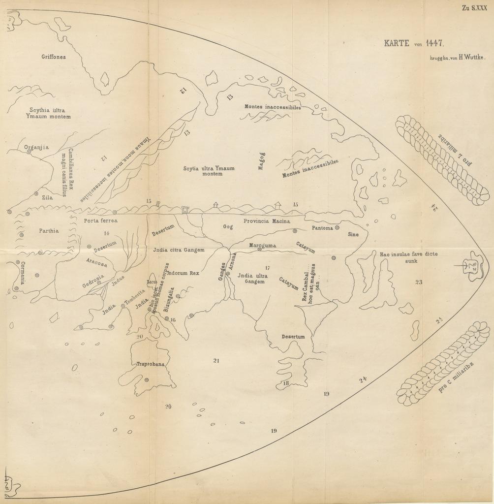 """map from """"Cosmographiam Æthici Istrici ab Hieronymo ex Graeco in Latinum breviarium redactam ... separato libello expressam primum edidit Henricus Wuttke. Accedunt duae tabulae, etc"""""""