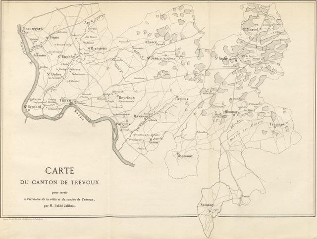 """map from """"Histoire de la Ville et du Canton de Trevoux, etc"""""""